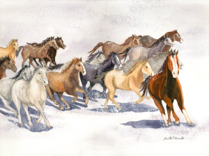 Mustangs in the Snow   Jeanette Falconetti, CO